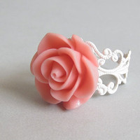 Peachy Pink Rose Ring - Shabby Chic blooming rose adjustable white filigree ring - Under 10
