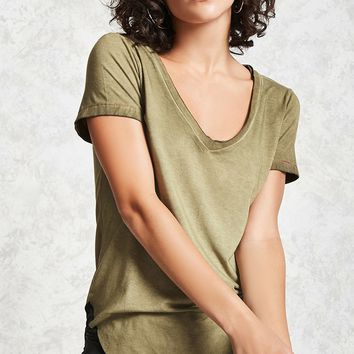 V-Neck Oil Wash Tee