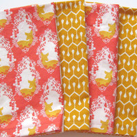 Cloth Napkins - Set of 4 - Large Dinner Napkins, Table Napkins - Mismatched, Assorted, Variety - Pink Orange Yellow