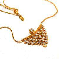 Vintage Necklace Clear Rhinestones Gold chain Art Deco style Glamour Modern Party Bride Chic