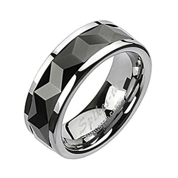 Spikes Mens Tungsten Carbide Black IP Multi-Faceted Rhombus Cut Spinner Ring