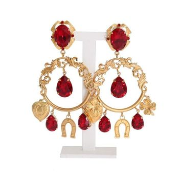 Dolce & Gabbana Gold Brass Red Crystal Charms Clip On Earrings