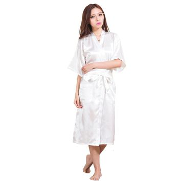New Women Satin Kimono Robes Bridesmaids Robe Solid Robe Long Kimono Robe Dressing Gown Bridal Party Gift