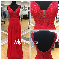 Plunging V Neck Red V Back Chiffon Prom Dress With Lace Appliques Bodice