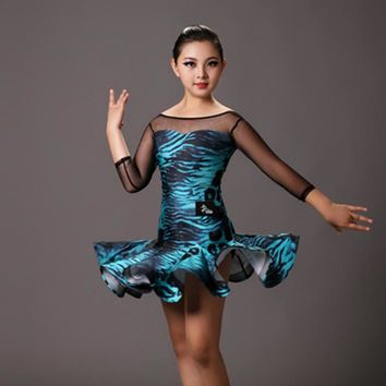 new girl professional leopard/tiger perspective splicing dress for children's Latin/rumba/samba/salsa Dance performance/practice