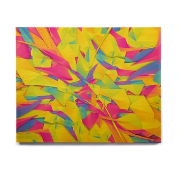 "Danny Ivan ""Bubble Gum Explosion"" Pink Yellow Birchwood Wall Art"