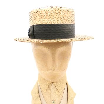 Antique Mens Hat Straw Boater 1920s Shapiro & Brothers Shamokin PA 6 3/4