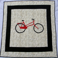 Modern Bike or bicycle throw - Homemade baby quilt - Crib quilt - Blanket - Boy crib bedding item - Custom made