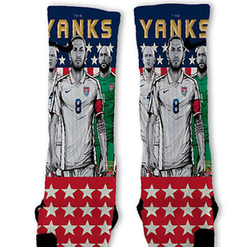 Yanks USA Soccer World Cup Customized Nike Elite Socks - Fast Shipping!!