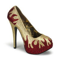 Gold And Red Rhinestone Flame Shoes-6-12 - Unique Vintage - Homecoming Dresses, Pinup & Prom Dresses.