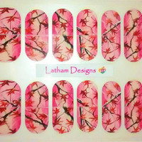 """Set of 40 Hand Painted Hot Pink Camo Nail Wraps from the Freeda Latham """"Signature Collection."""""""