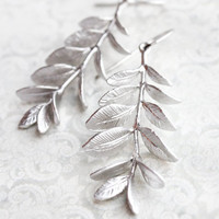 Leafy Branch Earrings Long Silver Earrings Dangle Bridesmaids Gift Nature Inspired Modern Womens Fashion Jewelry Leaves Leaf Unique