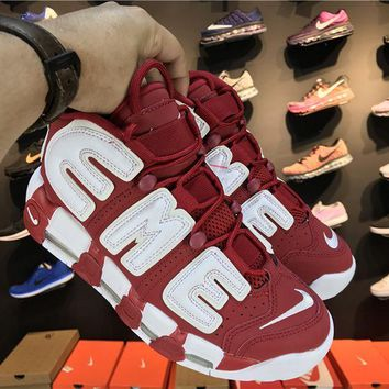 Jacklish Supreme X Nike Air More Uptempo Suptempo Red For Sale