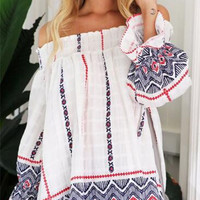 Print Off Shoulder Shirt B0013739
