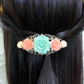 Rose Barrette Custom Vintage Style Choose Silver Plated or Antique Brass Filigree French Barrette You Choose Flower Color Hair Accessories