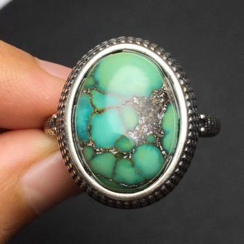 Fine Jewelry On Sale Christmas Gift s925 Solid real 925 sterling silver vintage Natural Turquoise Gemstone Male Ring for Men