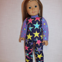 star pyjamas, pajamas,  18 inch doll clothes, American girl, Maplelea