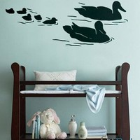 Vinyl Wall Art Decal Sticker Swimming Ducks Bird #160