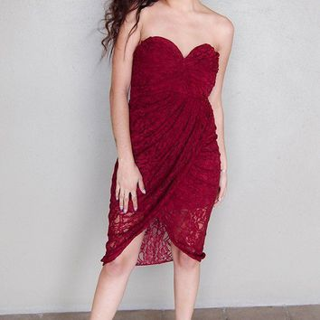 Late Night Special Strapless Burgundy Red Lace Dress