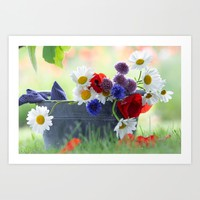 Flower potpourie from the cottage garden Art Print by tanjariedel