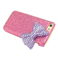 Mavis's Diary for Iphone 5C Crystal Purple Bow Diamond Bling Peach Hard Cover Case with Soft Clean Cloth
