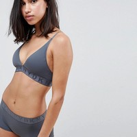 DKNY Logo Ribbed Bralette & Brief Set at asos.com