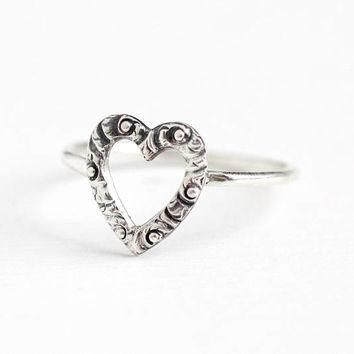 Antique Victorian Sterling Silver Heart Stick Pin Conversion Ring - 1900s Size 5 1/2 D