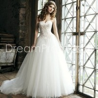 US $257.29 Free Shipping Spectacular A-line Sweetheart Floor-Length Chapel Appliques & Beadings Wedding Dresses