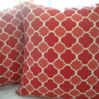 "Red Moroccan Geometric Trellis 16"" Square Pillow cover"