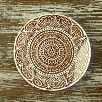 Indian Printing Block, Flower Fan Border Stamp, Hand Carved Wood Stamp, Large Round Wooden Circle, Ceramics Textile Pottery, India Decor