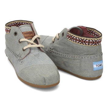 TOMS Blue Chambray Tribal-Trim Ankle Boot | zulily