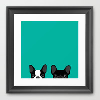 Boston Terrier and French Bulldog Framed Art Print by Anne Was Here