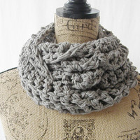 SALE RTS Long Caroline Gray Handmade Crochet Knit Infinity Scarf Cowl Necklace Accessory