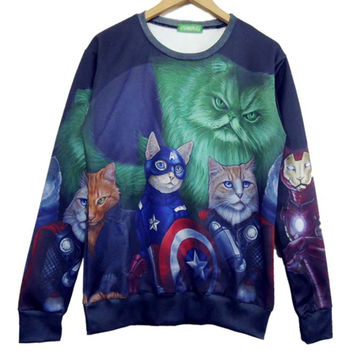 Adorable Kitty Cat as Avengers Superheroes Print Pullover Sweatshirt | Gifts for Animal Lovers