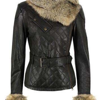 Ladies Washed 100% Soft Lamb Leather Quilted Raccoon Fur Collar Jacket