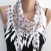 White floral cotton scarf, summer scarf