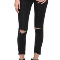 Black Ripped Skinny Cropped Pants