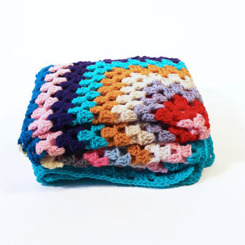 Retro Afghan Crochet Blanket - One of a Kind Color Granny Square Full Large