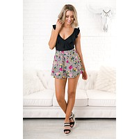 Nothing But Time Floral Shorts (Black)