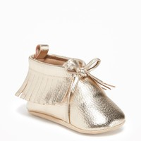 Metallic-Gold Moccasins for Baby | Old Navy