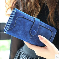 New Fashion Women  Wallet Matte Stitching Women Long Brand Purse Clutch 9 Colour Handbag Wristlet  freeshipping