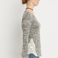 Crochet-Paneled Marled Top | Forever 21 - 2000156468