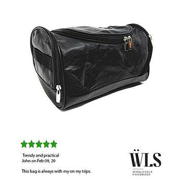 AFONiE Soft Patch Leather Zipped Travel Toiletry Bag Unisex Supply Toiletry Bag Case