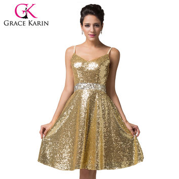 Grace Karin Cocktail Dresses 2016 Double V-Neck Sequin Formal Vestidos Blue Gold Knee Length Sexy Prom Dress Short Party Gown