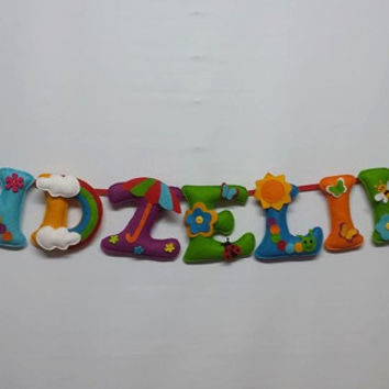 After Rain themed felt name banner,nursery decor-made to order