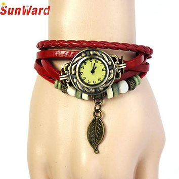 SunWard Wacthes Womens Bracelet Vintage Weave Wrap Quartz Leather Leaf Beads Wristwatches Reloje mujer bayan saat  2017 Hot Sale