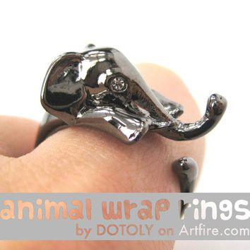 Elephant Animal Wrap Around Ring in Gunmetal Silver - Sizes 4 to 15 Available
