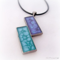 Contemporary violet turquoise abstract pendant, geometric necklace, handpainted resin jewelry