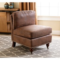 ABBYSON LIVING Whitney Antique Brown Armless chair | Overstock.com Shopping - The Best Deals on Living Room Chairs