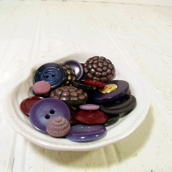 Vintage Variety of Shades of Purple Buttons Collection - 35 Old Used Buttons for Repurposing Upscaling Upcycling Crafts Seamstress Projects